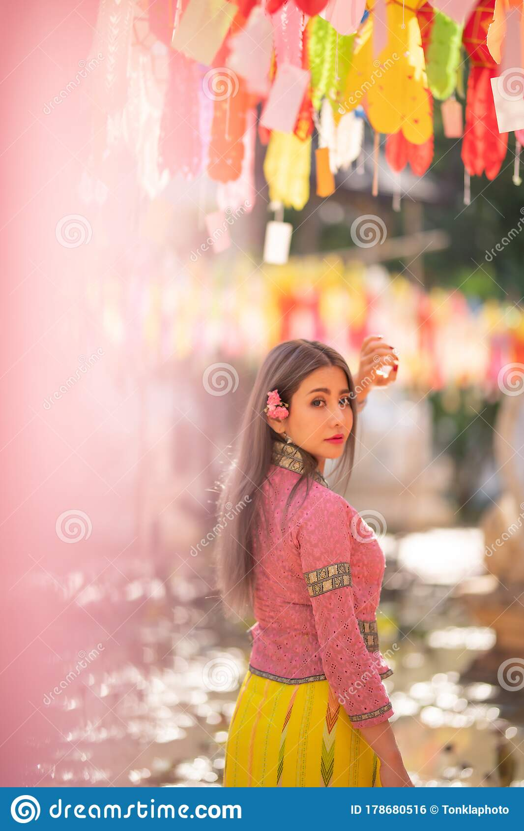 Asian Woman Wearing Traditional Thai Culture Take A Baht
