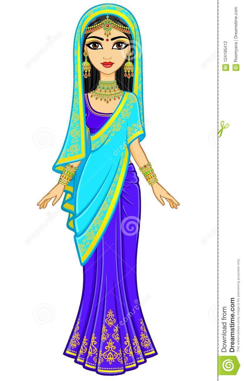 daead5bcc7 Asian beauty. Animation portrait of the young Indian girl in traditional  clothes. Fairy tale princess. Full growth. Vector illustration isolated on  a white ...