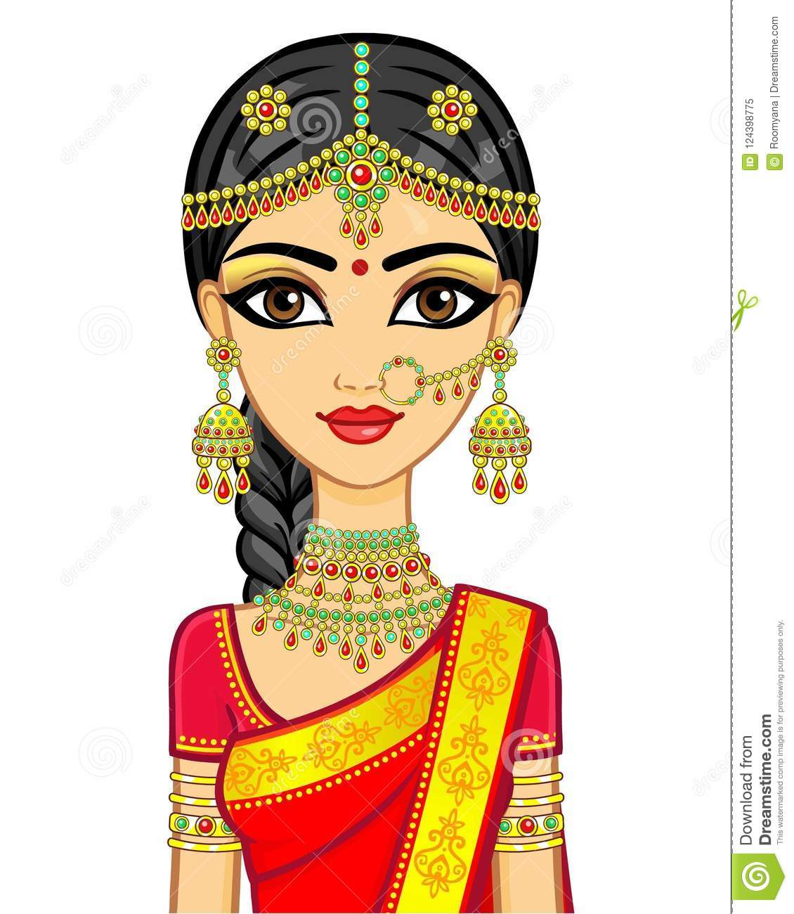 best sneakers f7598 e9528 Animation portrait of the young Indian girl in traditional clothes. Fairy  tale princess.