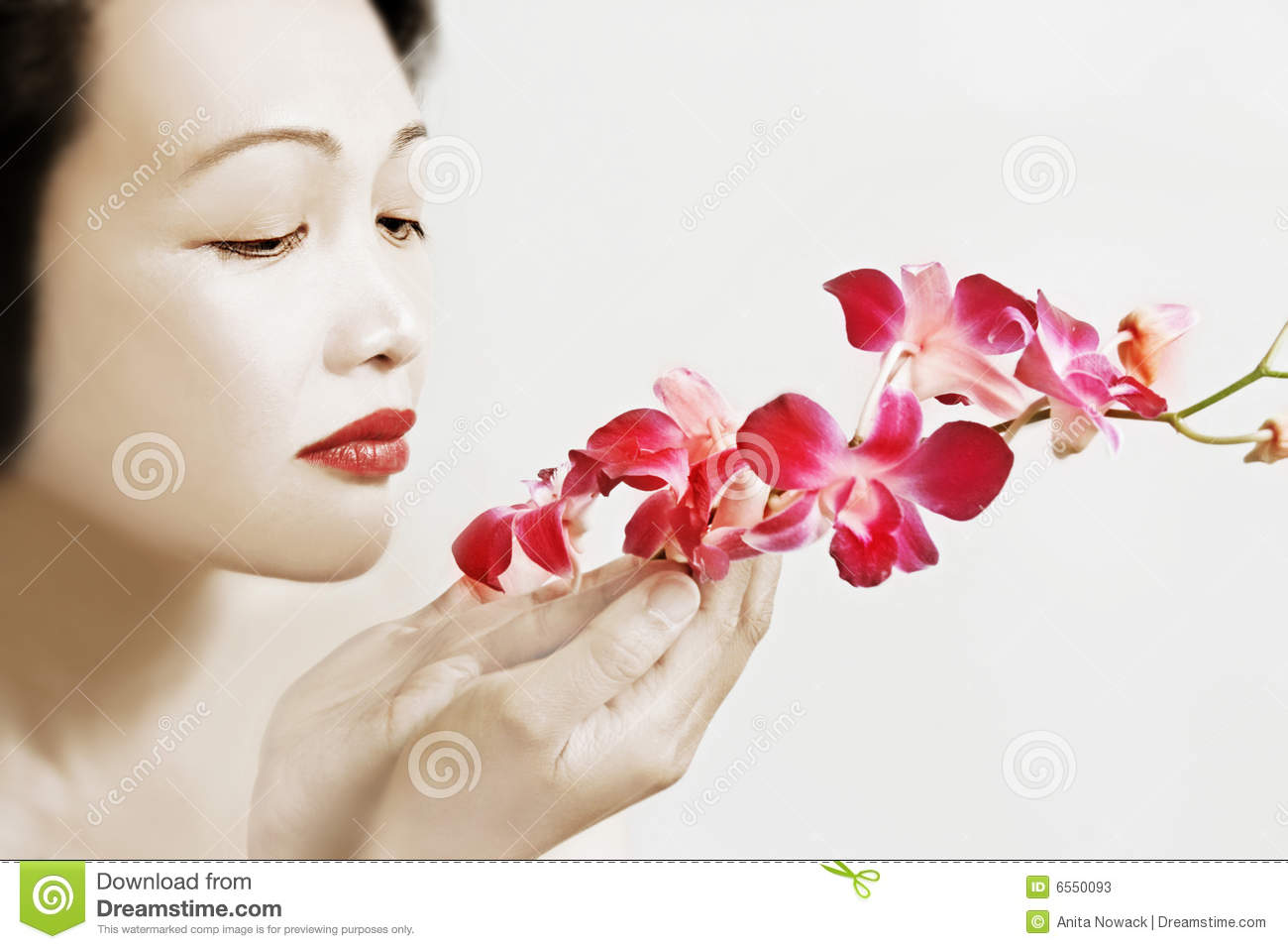 Asian beauty with orchids