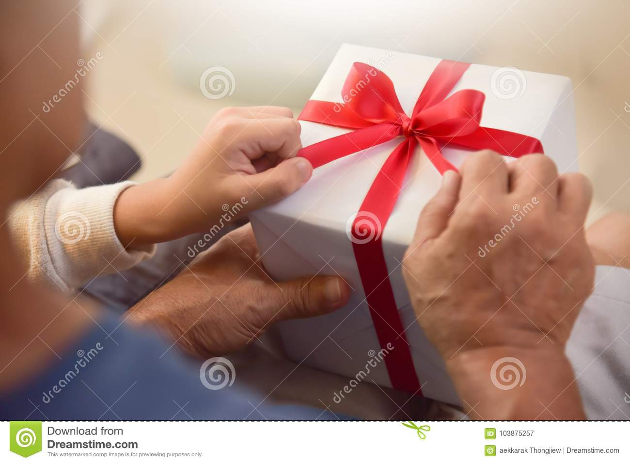 Asian Boy And Elderly Man Holding On Red Ribbon Of White Gift Box Birthday Christmas New Year