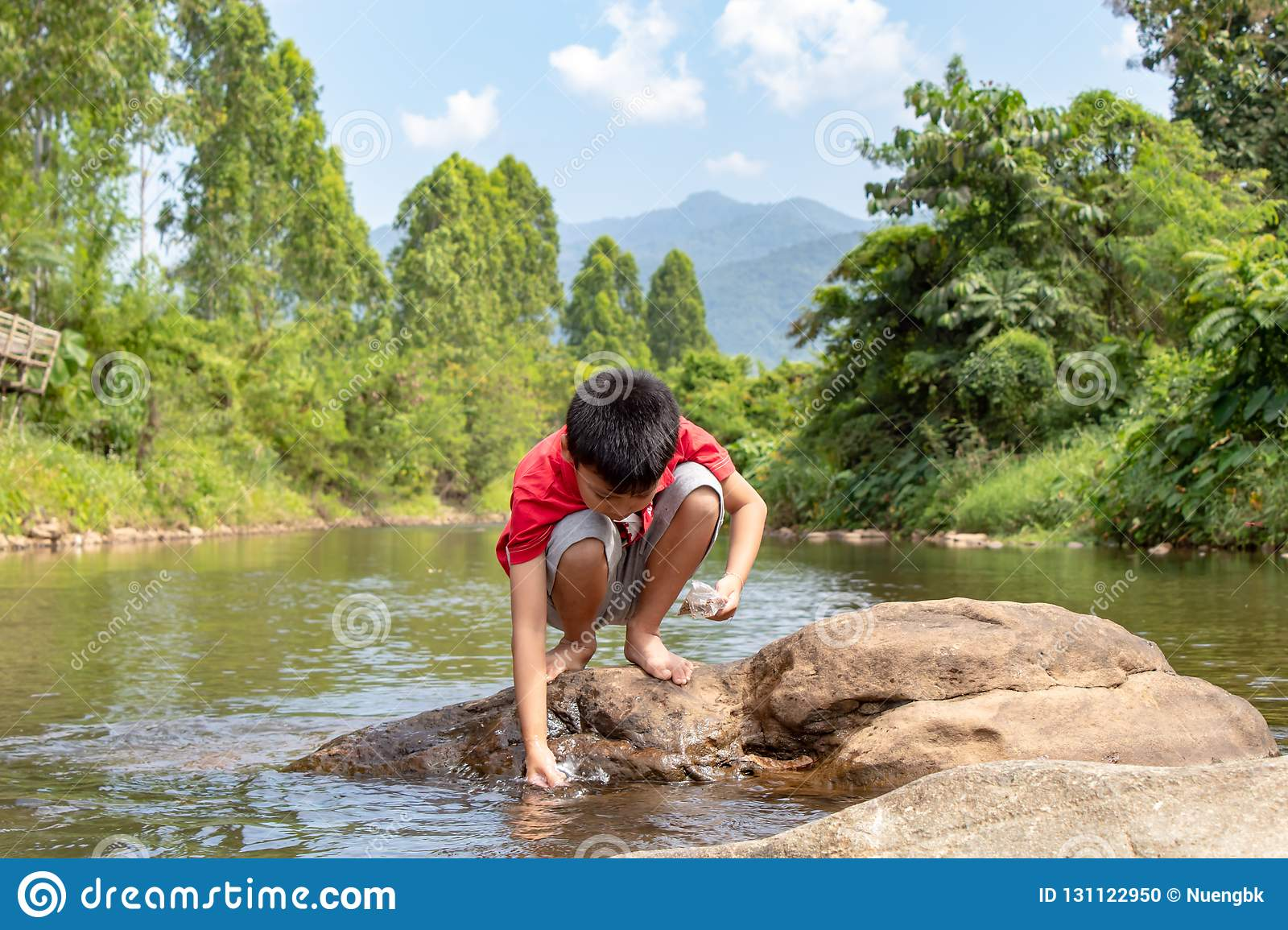 Asian boy looking at fish in a stream.Asian boys are feeding the fish in the stream.