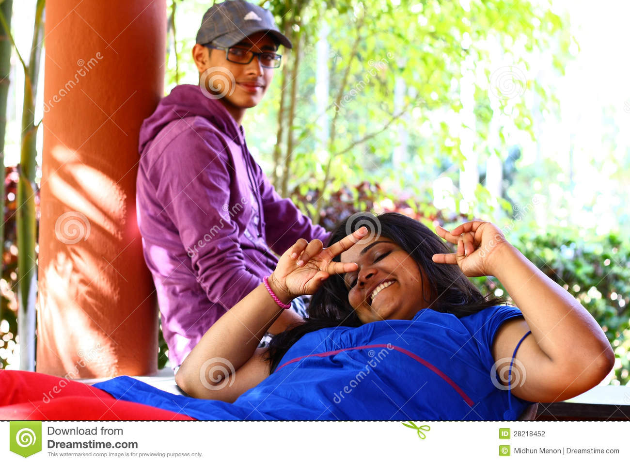 Asian Brother And Sister In Playful Mood Stock Photography Image 28218452
