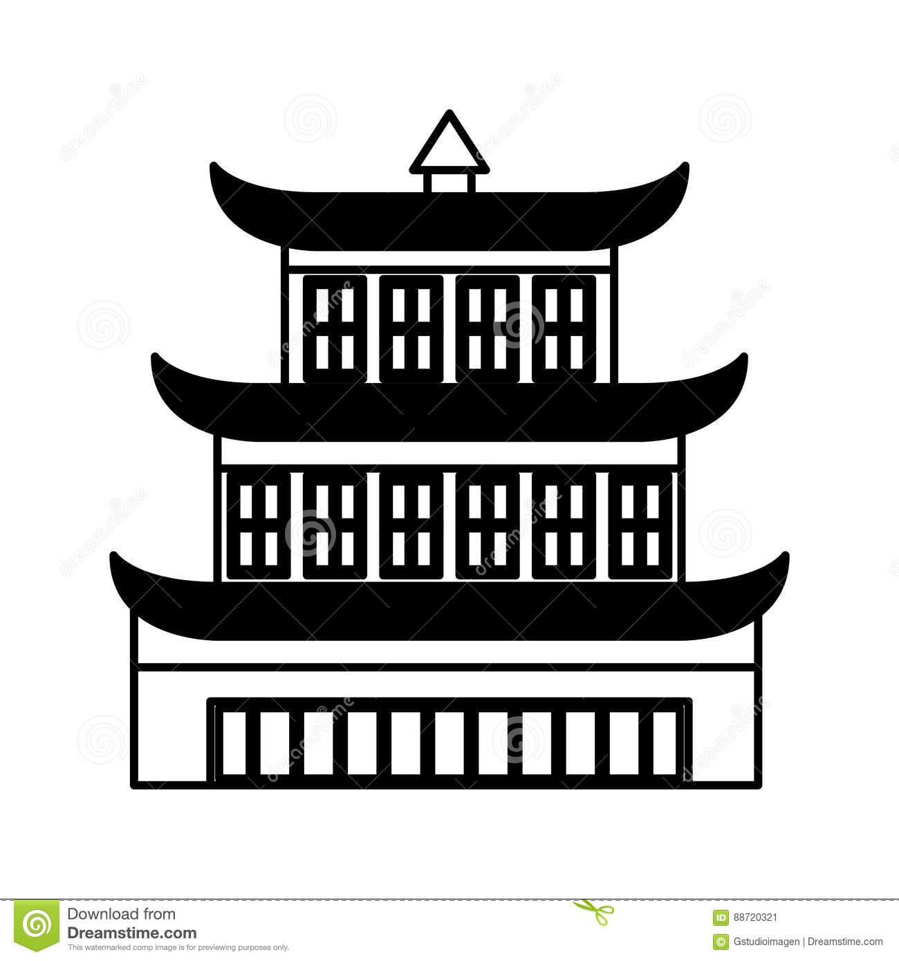asian building castle icon stock vector - image: 88720321