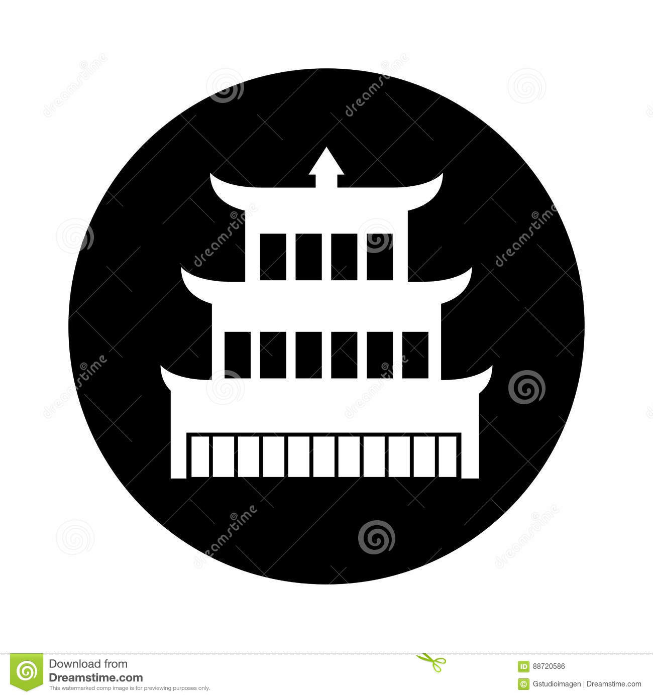 asian building castle icon stock vector - image: 88720586