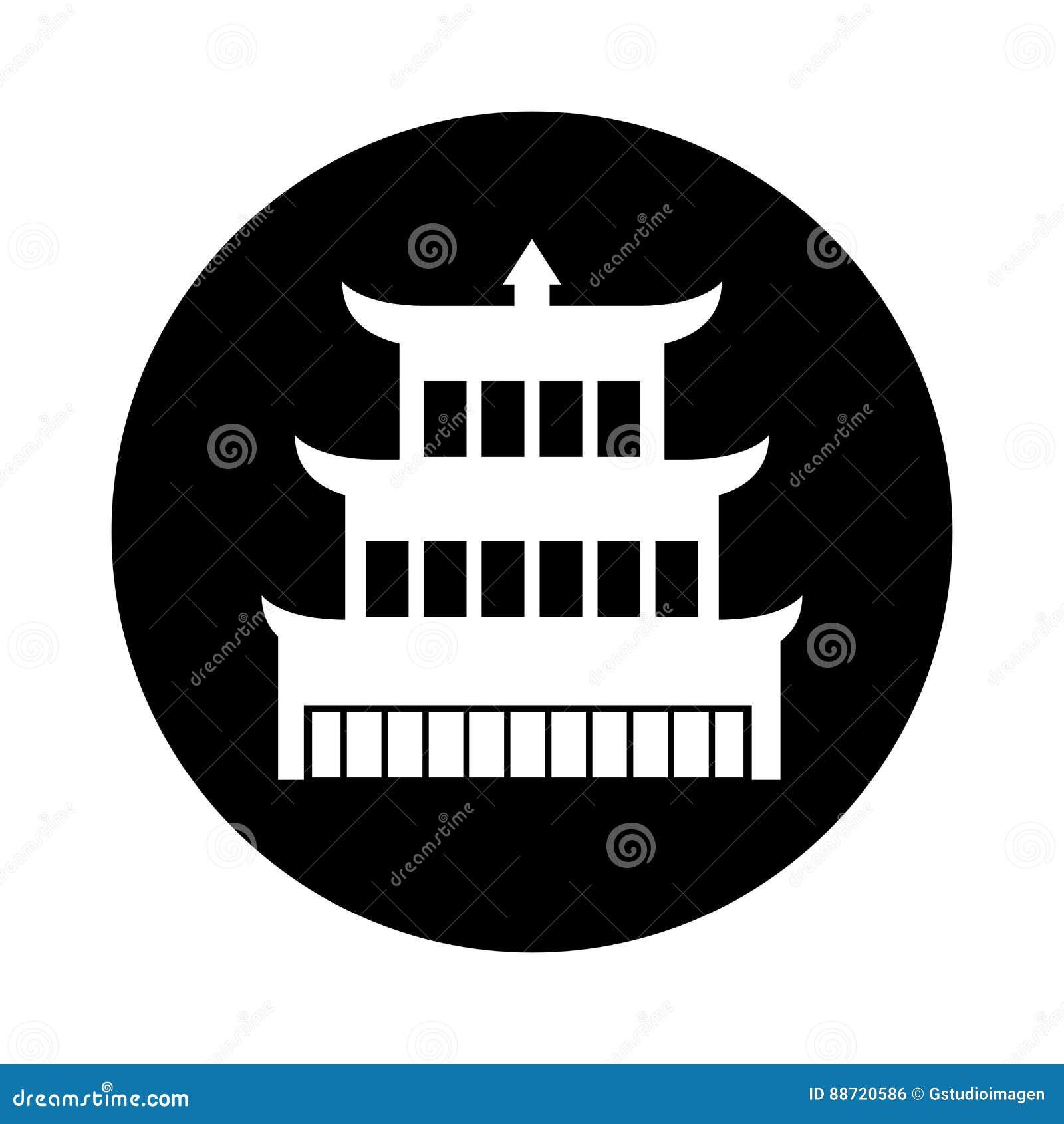 asian building castle icon stock vector - image: 88720586