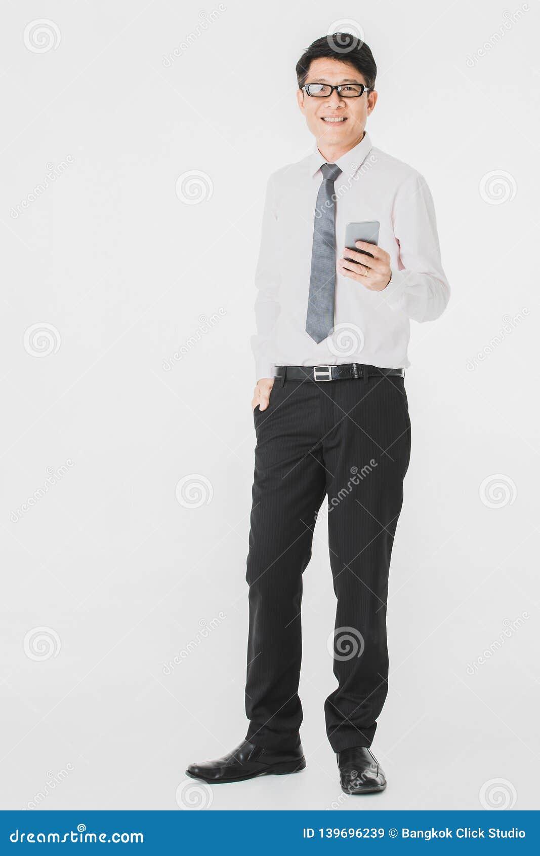 Asian business man white