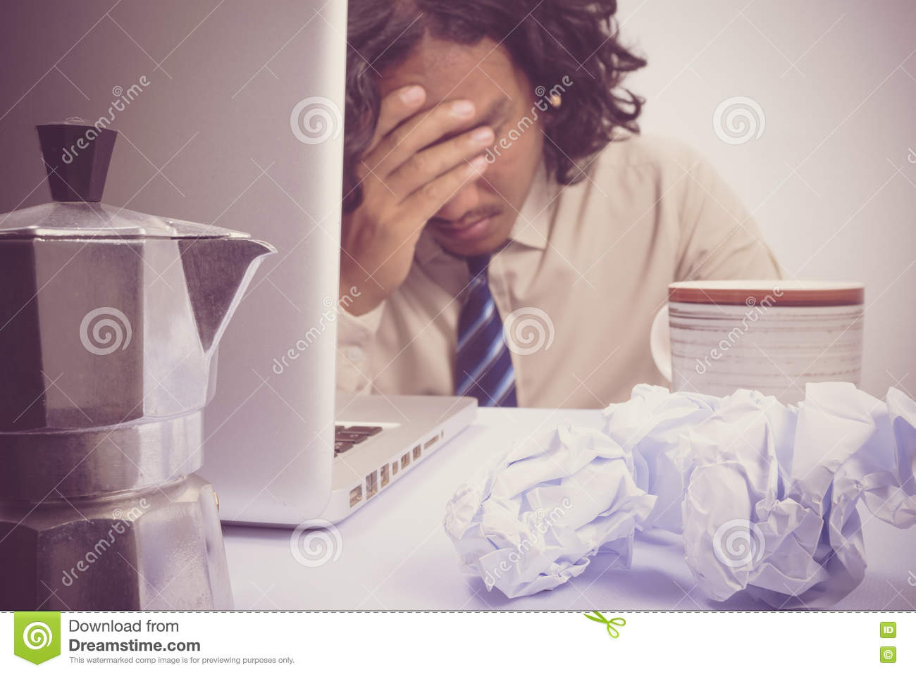 Asian Business man stressed