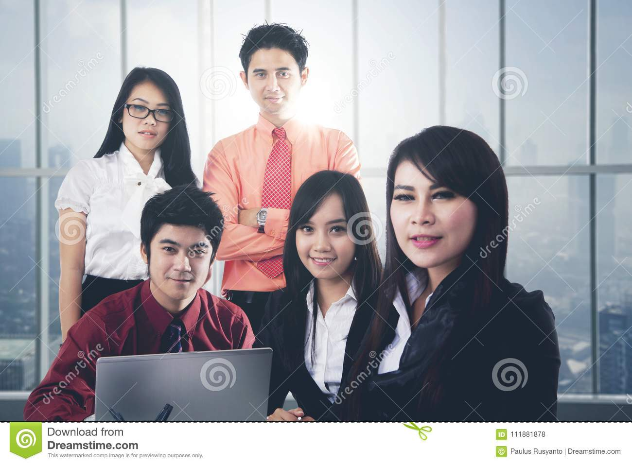 Asian business people in a modern office