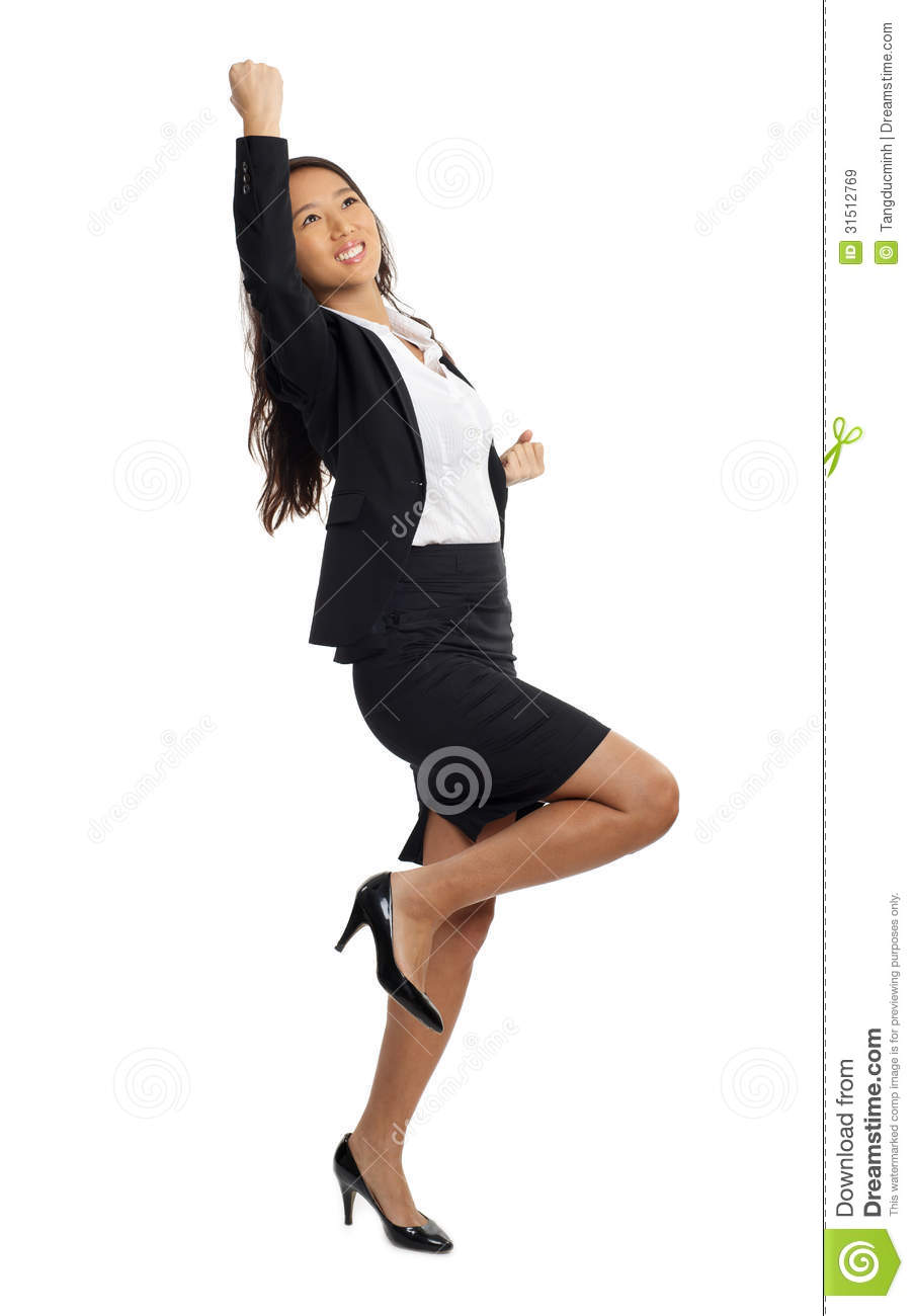Asian Business Woman Cheering Success Royalty Free Stock ...