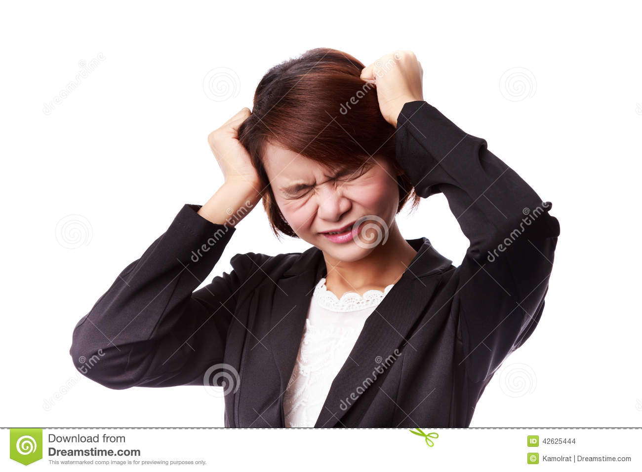 Asian business woman frustrated and stressed