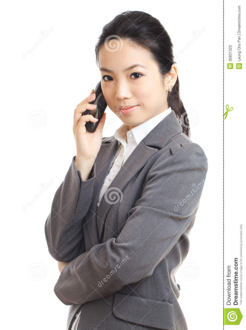Asian business woman mobile