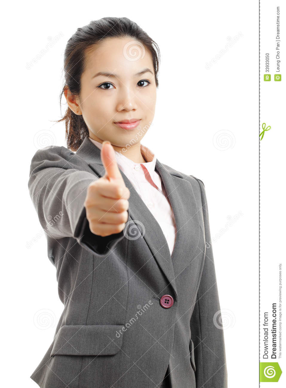 Asian business woman with thumb up