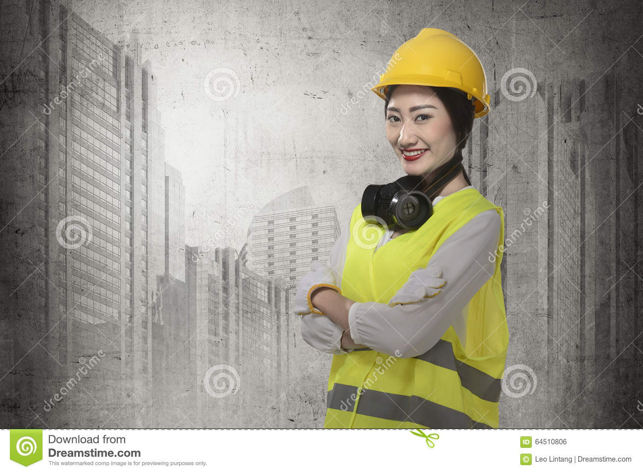 03ff59f7b24 Asian Business Woman Wearing Yellow Helmet Smile Stock Photo - Image ...