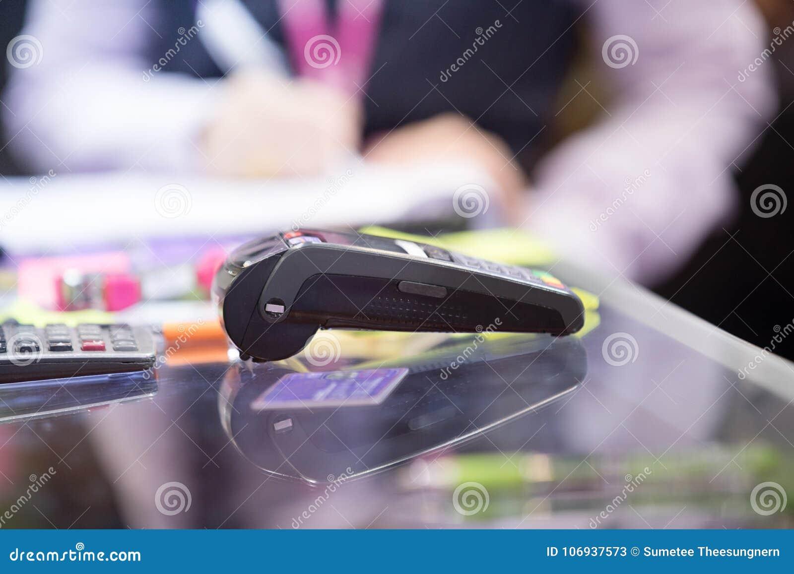 Asian Business Women Hand Using Credit Card Swiping Machine For ...