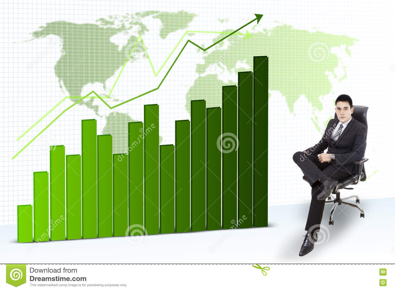 Asian businessman with growth chart stock illustration asian businessman with growth chart nvjuhfo Choice Image