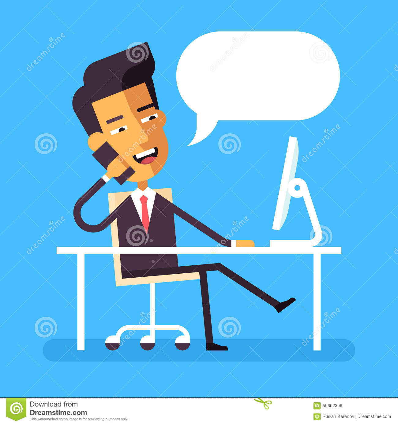 Cartoon Businessman On Desk Cartoon Vector