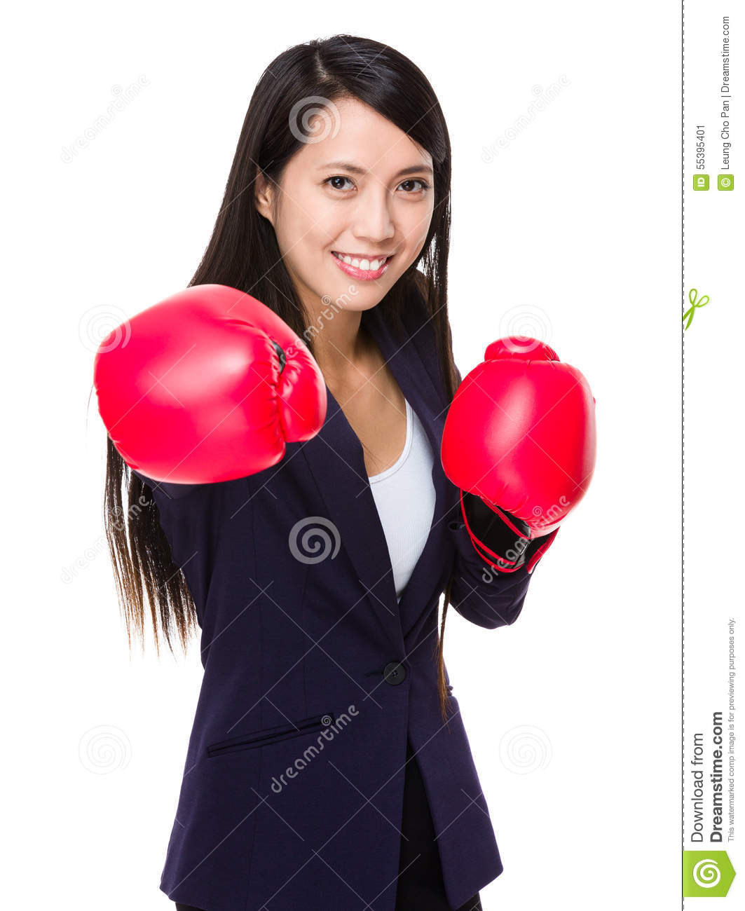 Asian Businesswoman Ready Fight For New Contract Stock