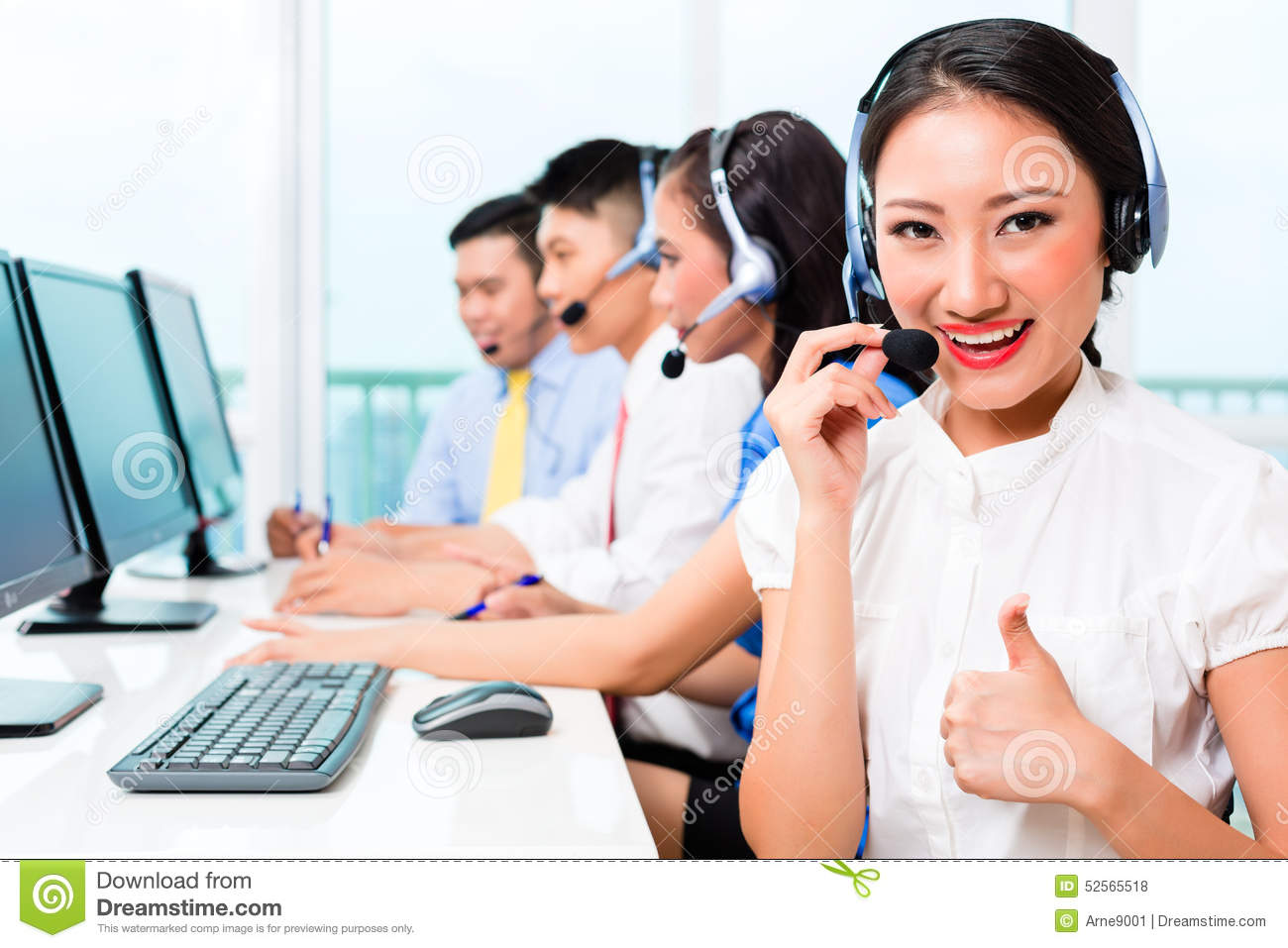 asian call center agent team on phone stock photo image of phone business 52565518. Black Bedroom Furniture Sets. Home Design Ideas