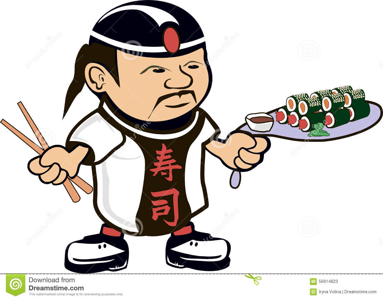 Cartoon drawing of an asian chef cook with sushi.