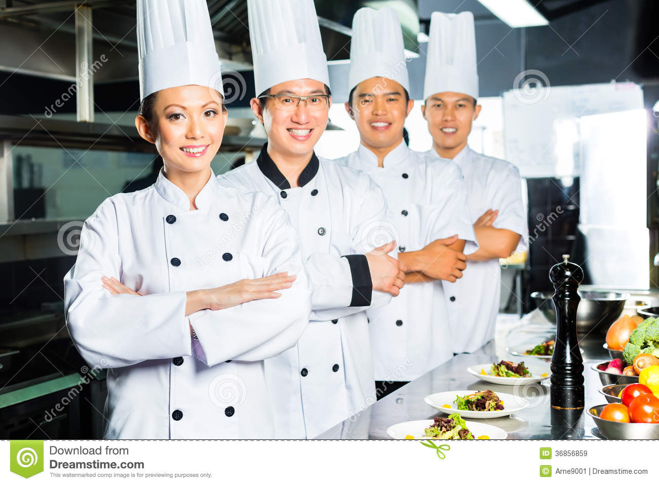 asian chef restaurant kitchen cooking indonesian chinese chefs along