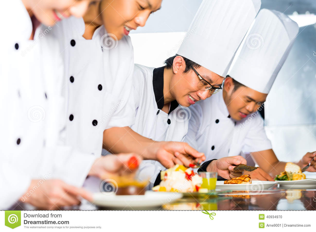 asian chefs restaurant kitchen cooking indonesian chef along other