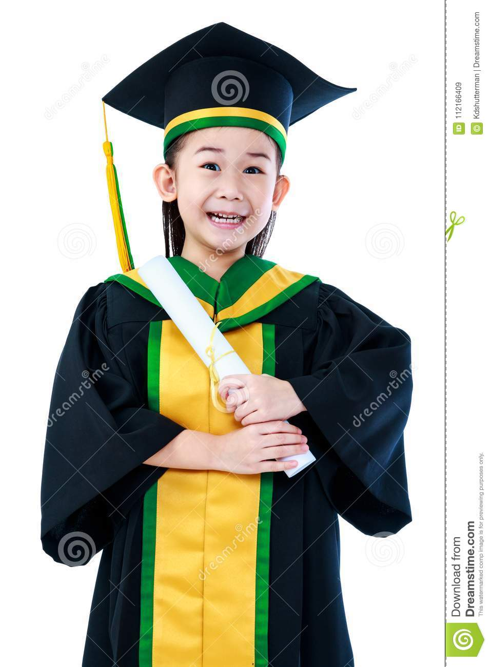 Asian Child In Graduation Gown Smiling And Holding Diploma Certi ...
