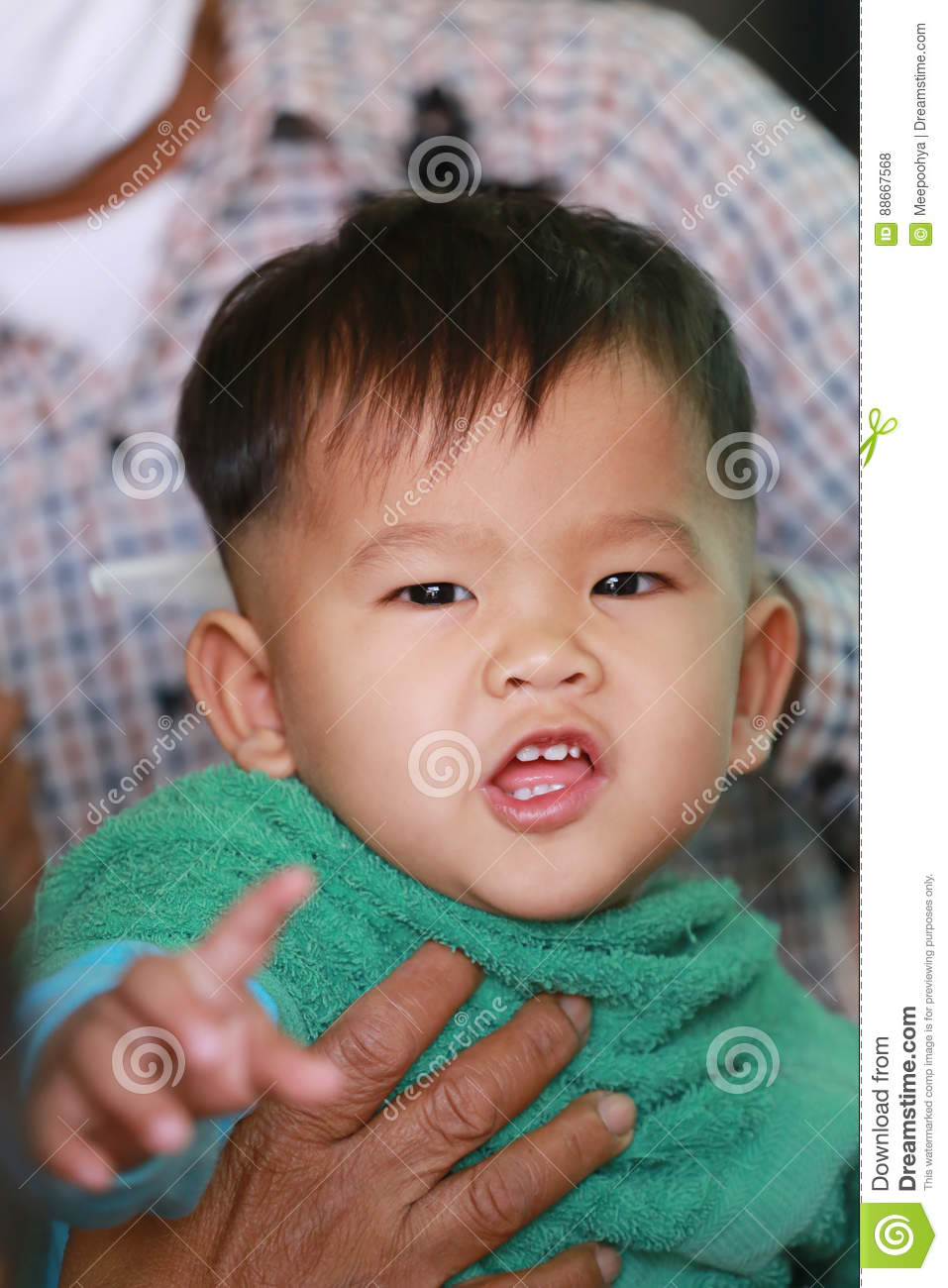 Asian Children Of A Boy In Haircut Stock Photo Image Of Children