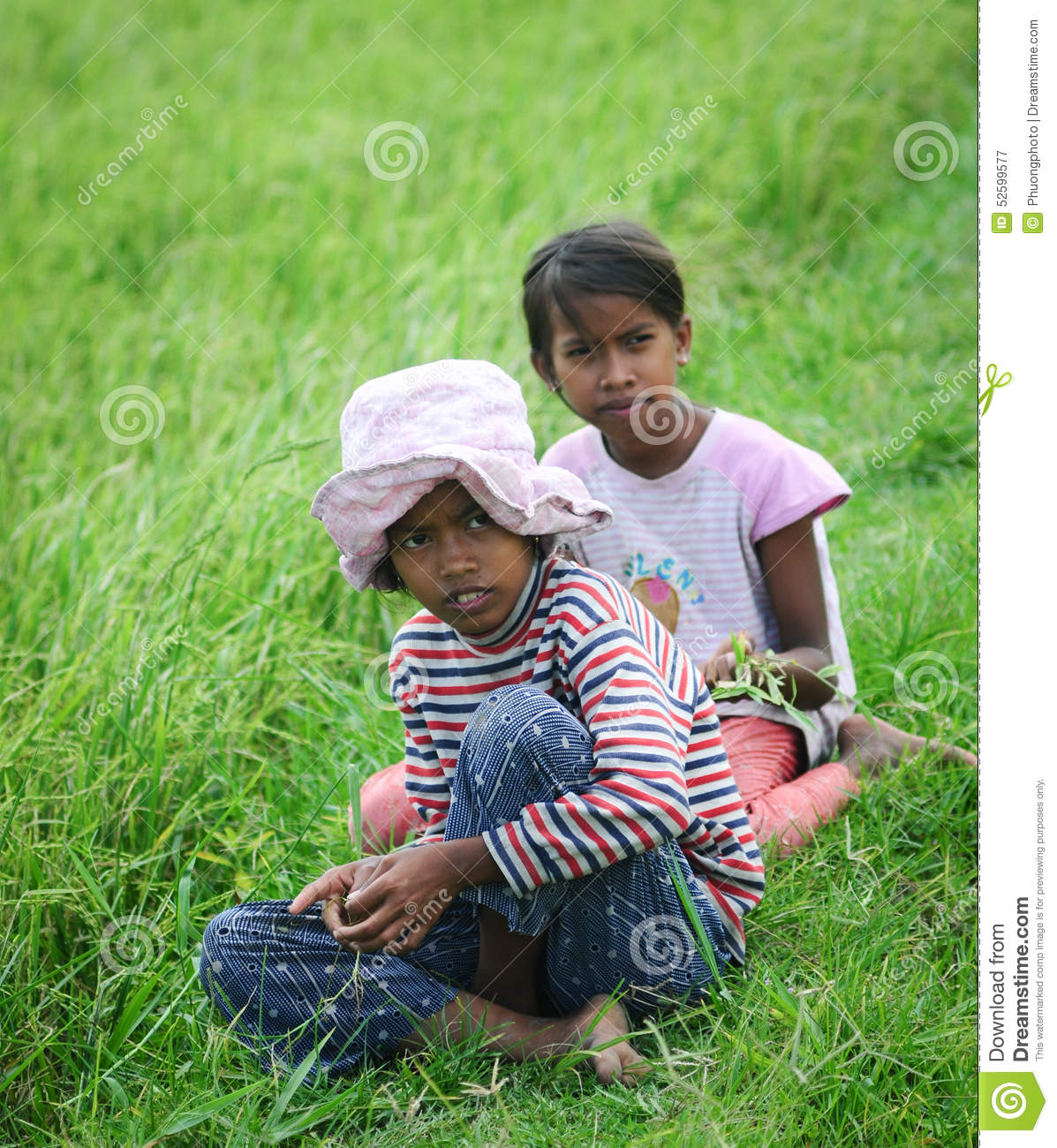 Asian Children Playing On Rice Field Editorial Photography Image