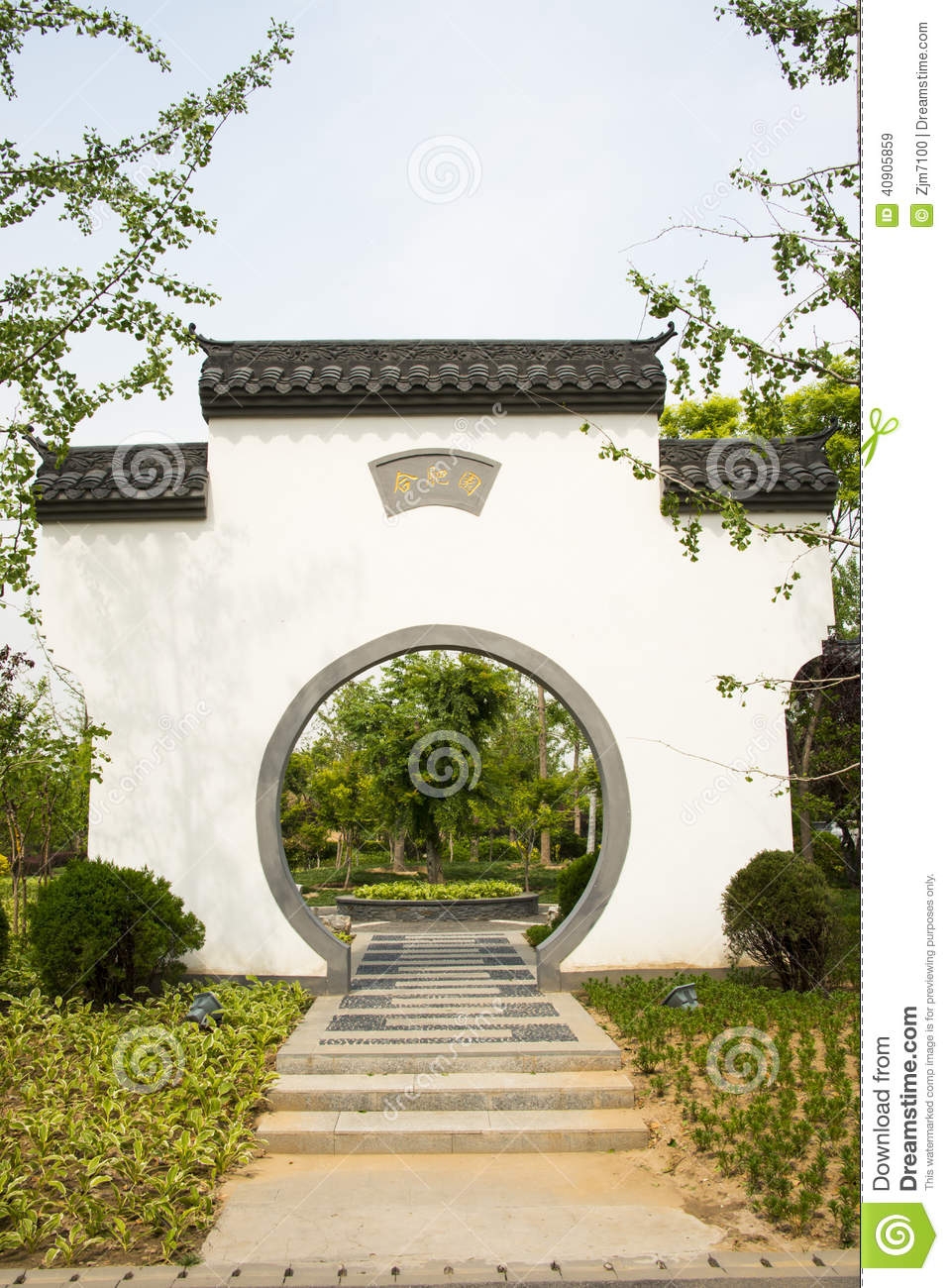 Asian china antique buildings white walls tiles stock for Round garden buildings
