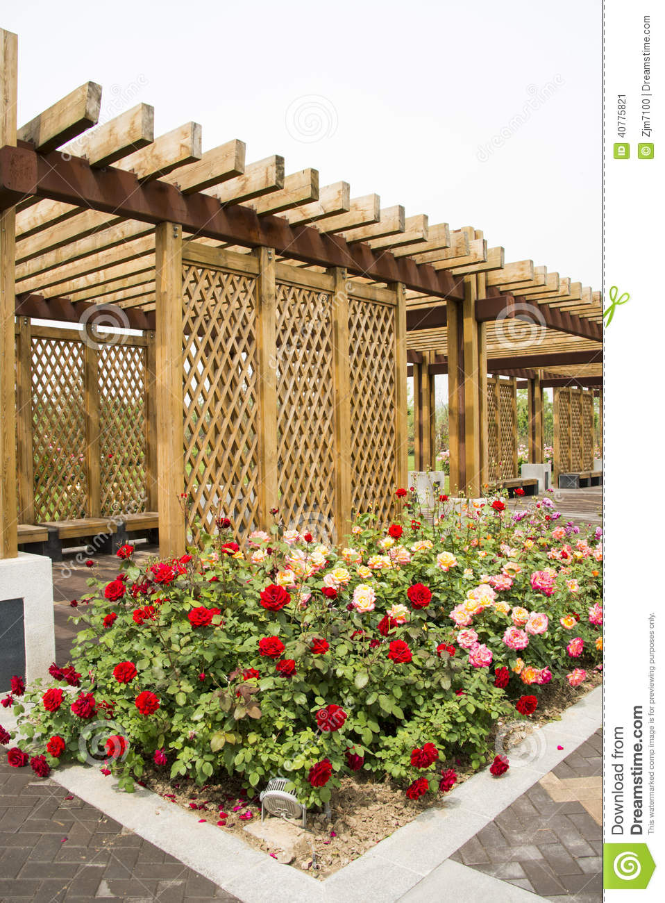 Asian china wood structure house rose stock image for Wood in chinese