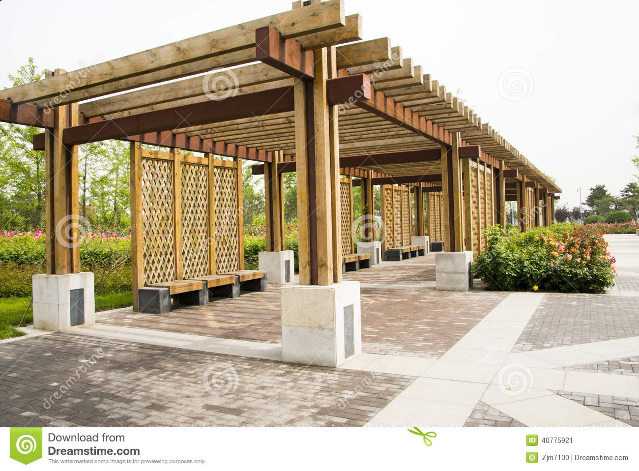 Asian China Wood Structure House Rose Stock Photo