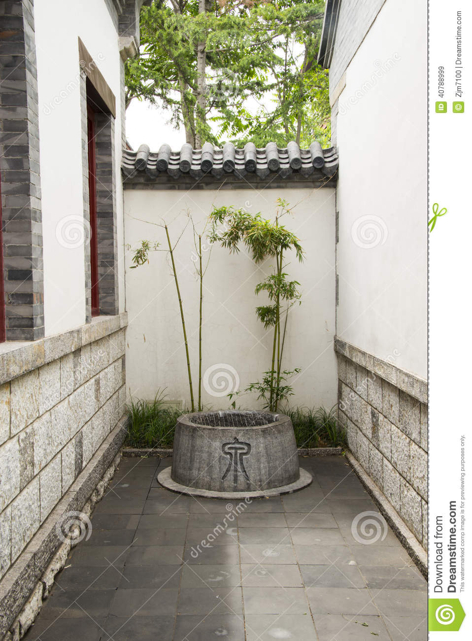 Asian Chinese Antique Buildings Courtyards Well Stock