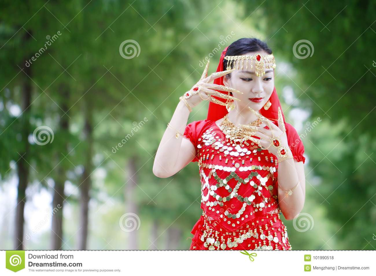 Asian Chinese Beauty Belly Dancer In Red Dress With Veil