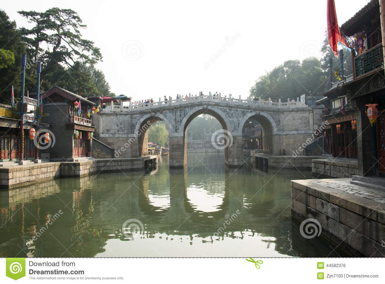 Download Asian Chinese, Beijing, The Summer Palace, The Three Hole Long  Bridge Editorial