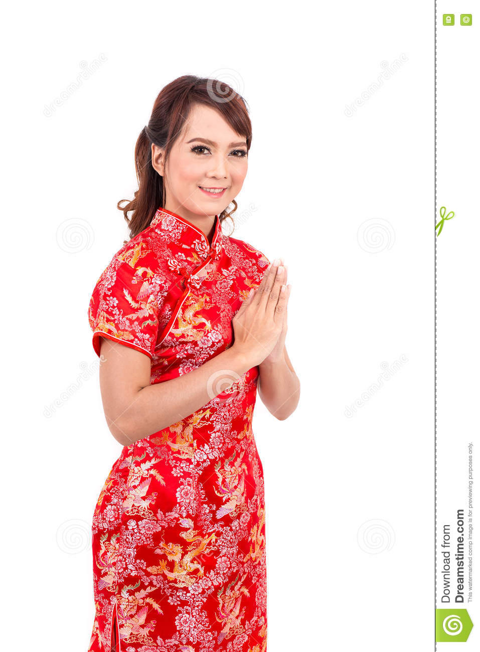 Asian chinese girl greeting in traditional chinese welcome stock asian chinese girl greeting in traditional chinese welcome m4hsunfo