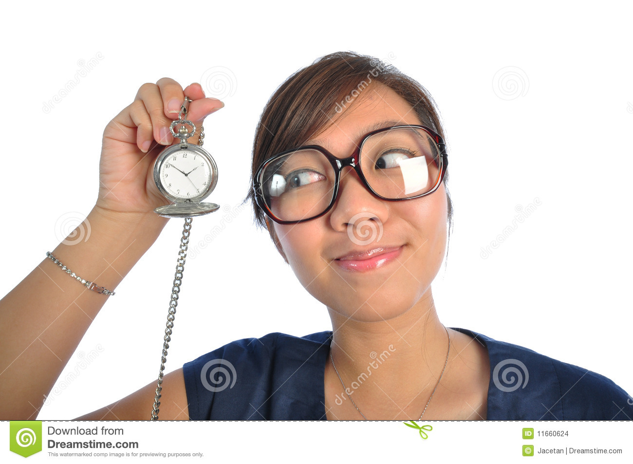 Asian chinese girl looking at Time