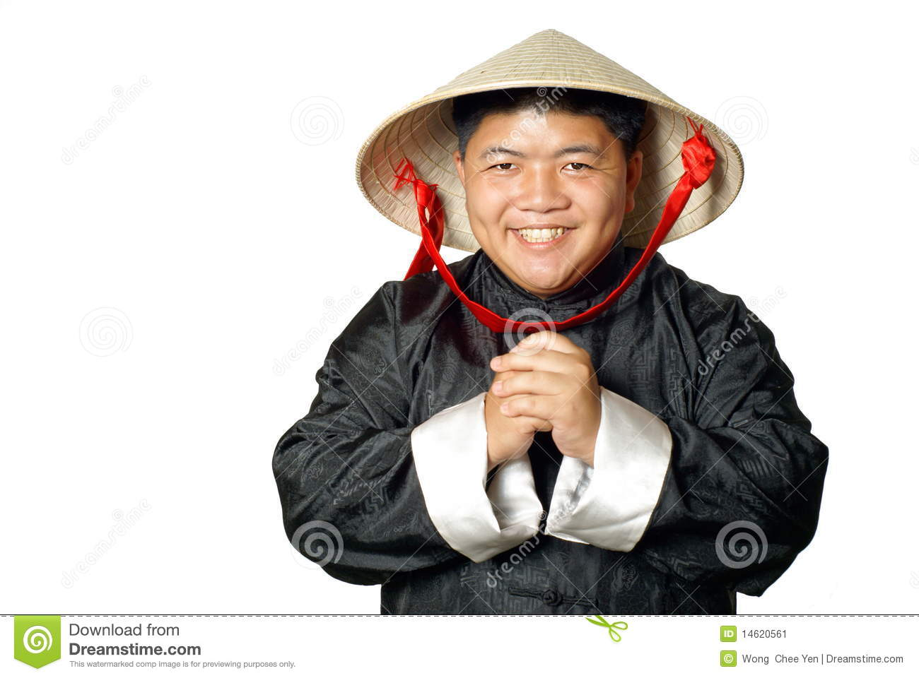asian chinese greeting with hat stock image