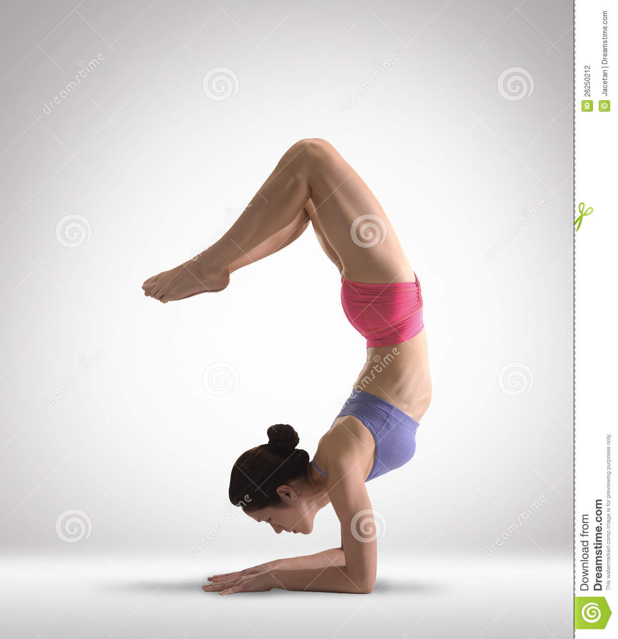 Asian Chinese Lady Doing Yoga In Colored Clothing Stock Photography ...