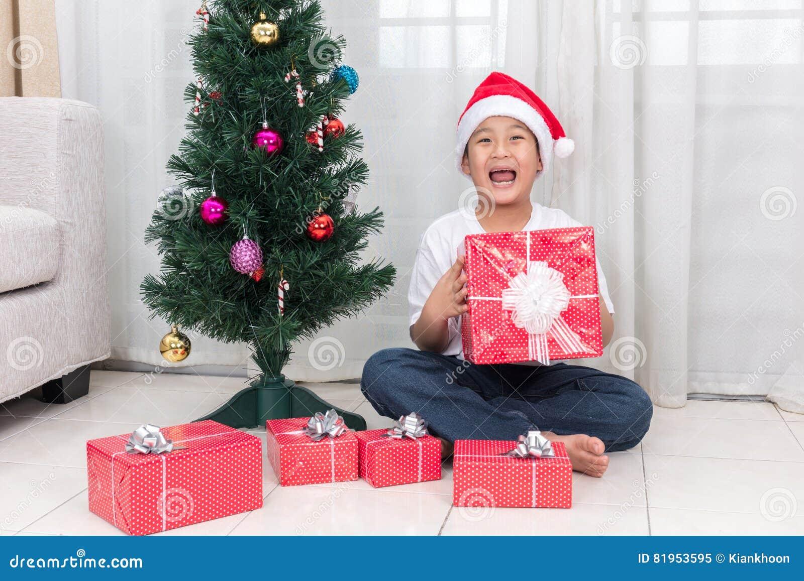 Asian Chinese Little Boy Holding Christmas Gift Box Stock Image ...