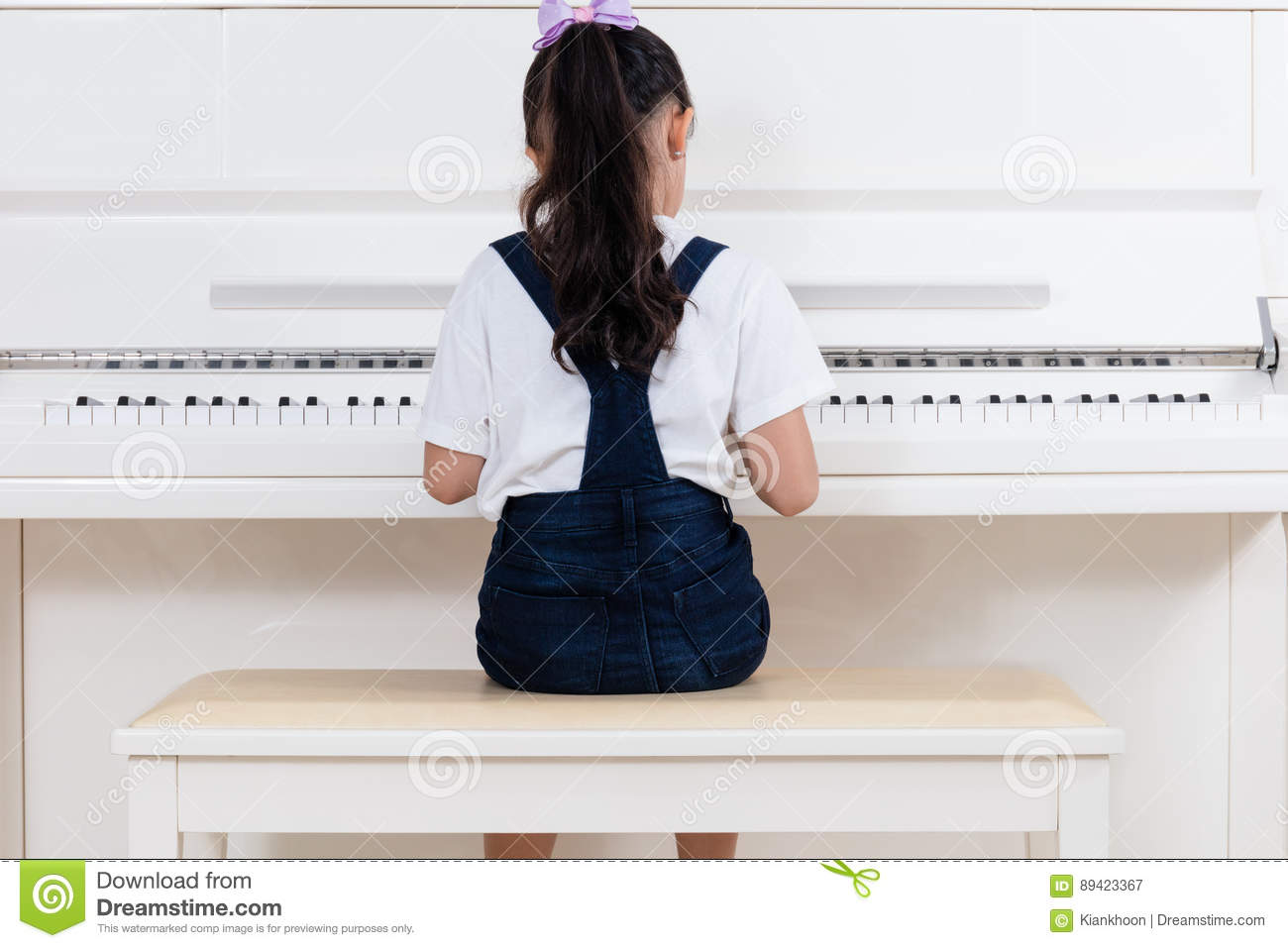 Asian Chinese Little Girl Playing Classical Piano At Home Stock ...