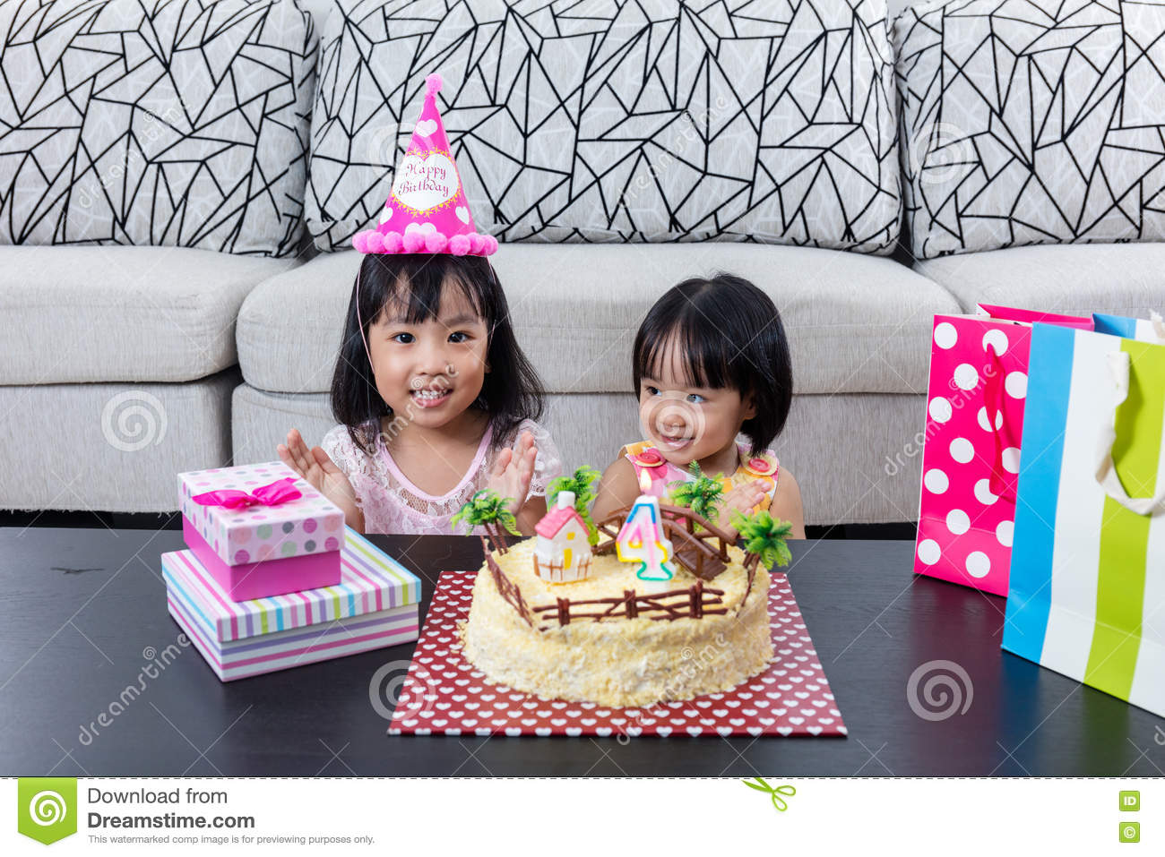 Asian Chinese little sister with celebrating birthday