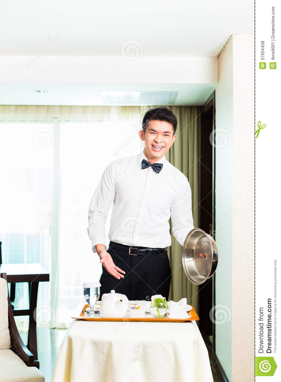 Room Service: Hotel Room Service Serving Food Stock Photo