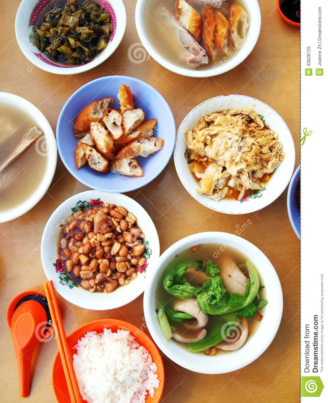 Asian chinese style street food dishes