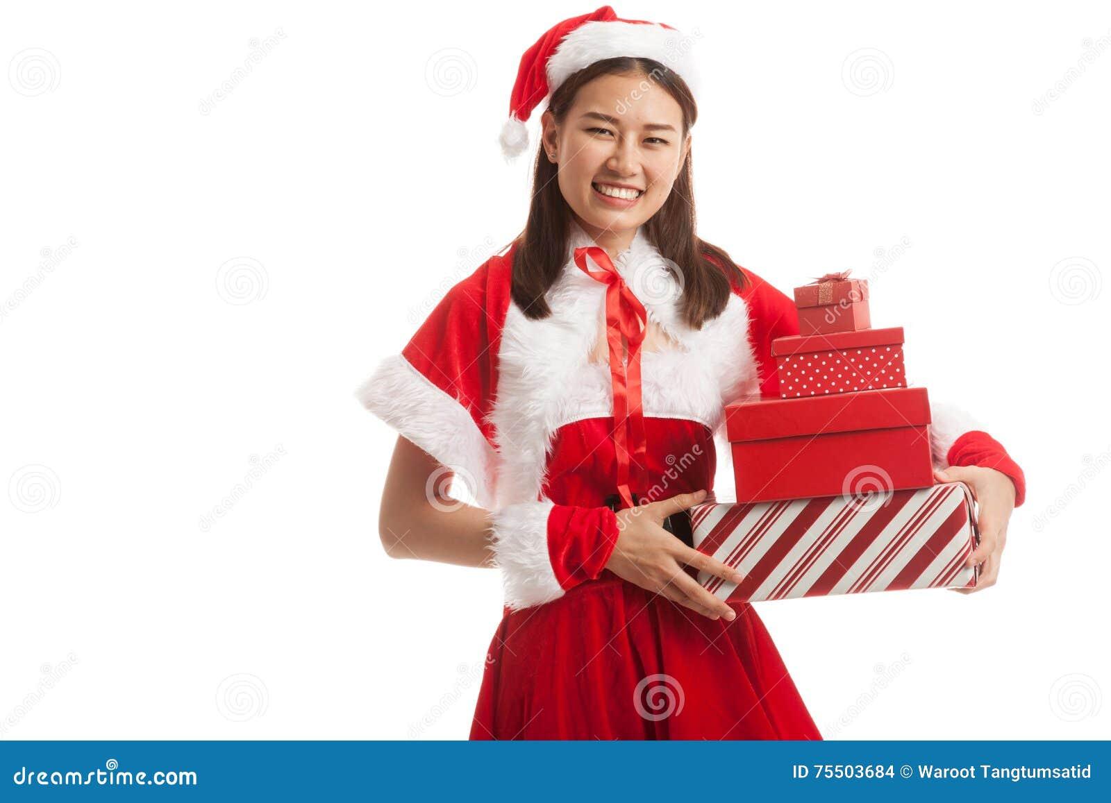Asian Christmas Santa Claus girl with gift boxs