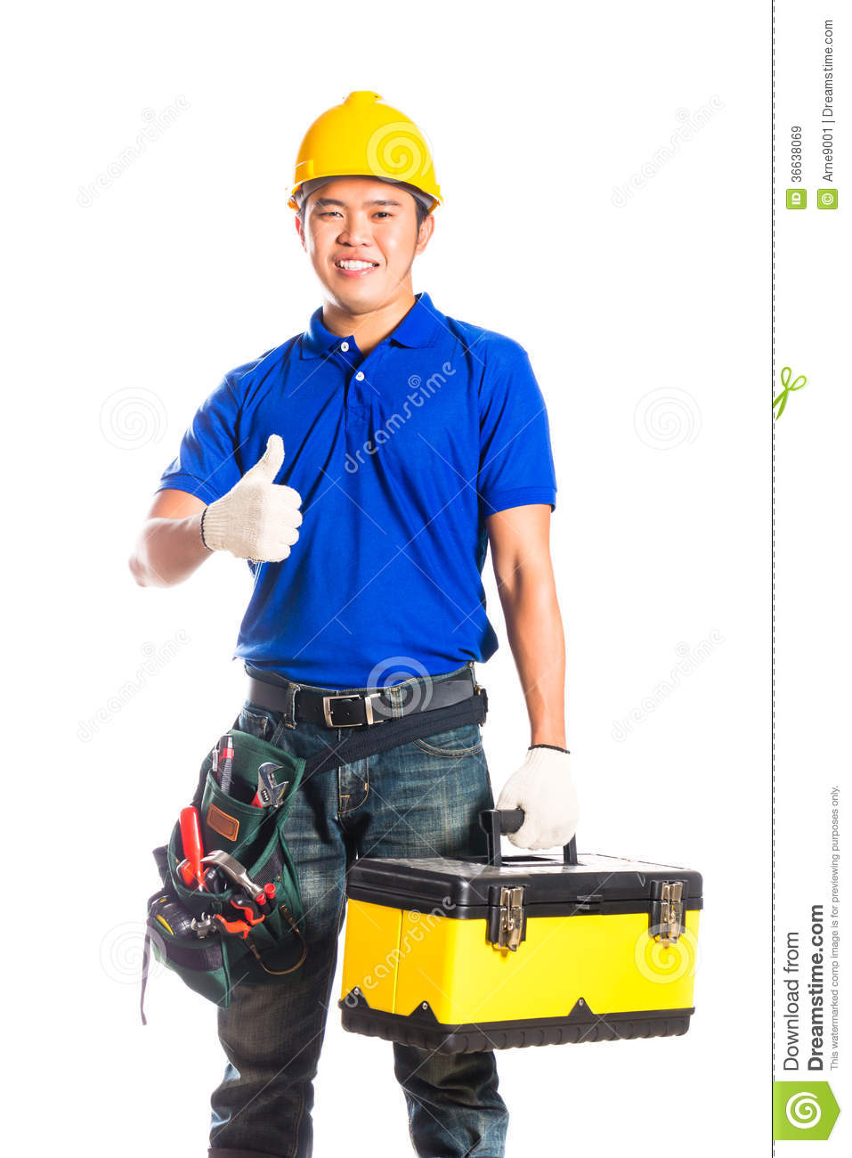 ... or construction worker with helmet and tool belt sitting on tool box