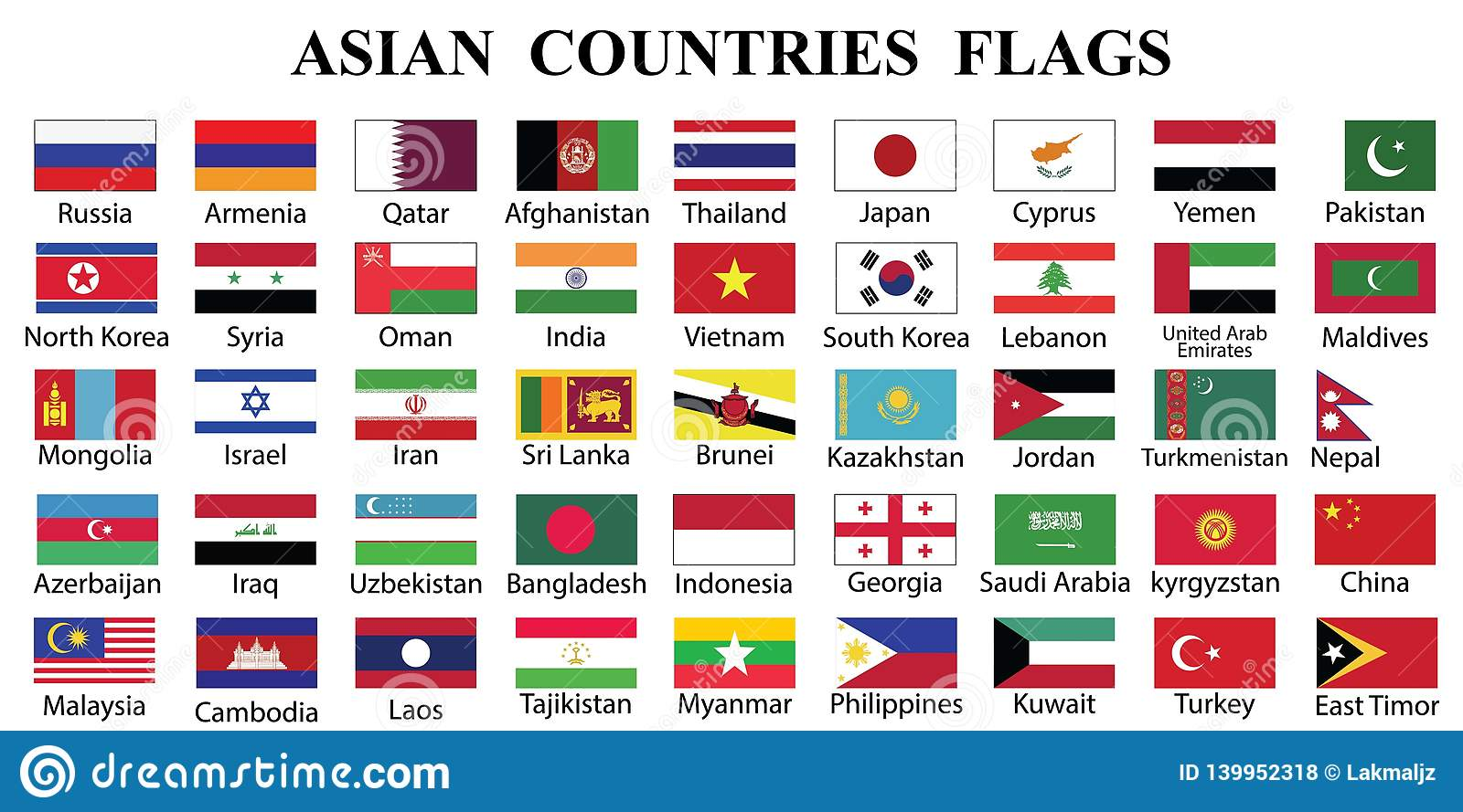 Asian Countries Flag Collection Stock Vector ...Flags Of Asia With Names
