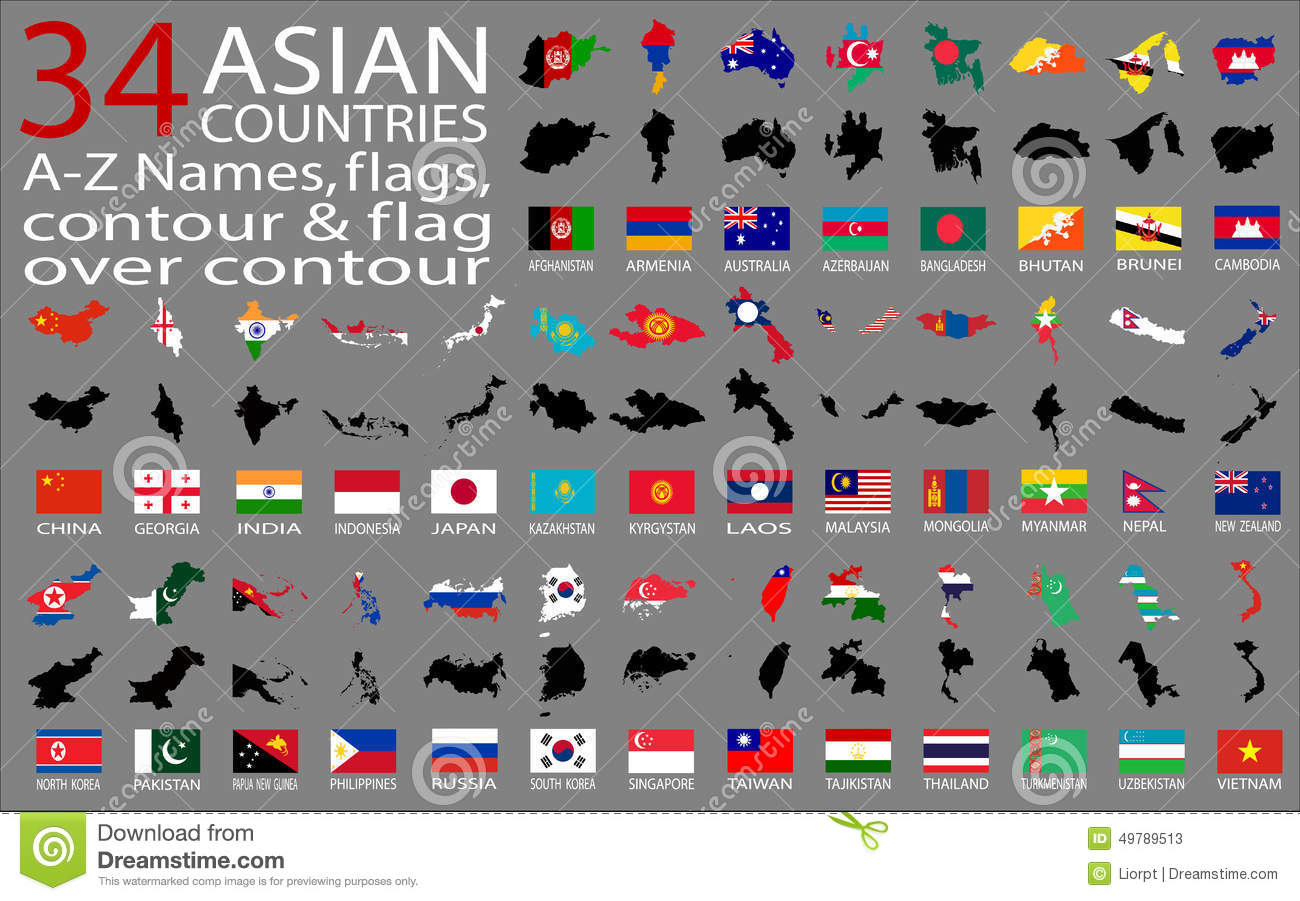 World map with country names and flags picture ideas references world map with country names and flags asian countries az names flags contour and map over gumiabroncs Gallery