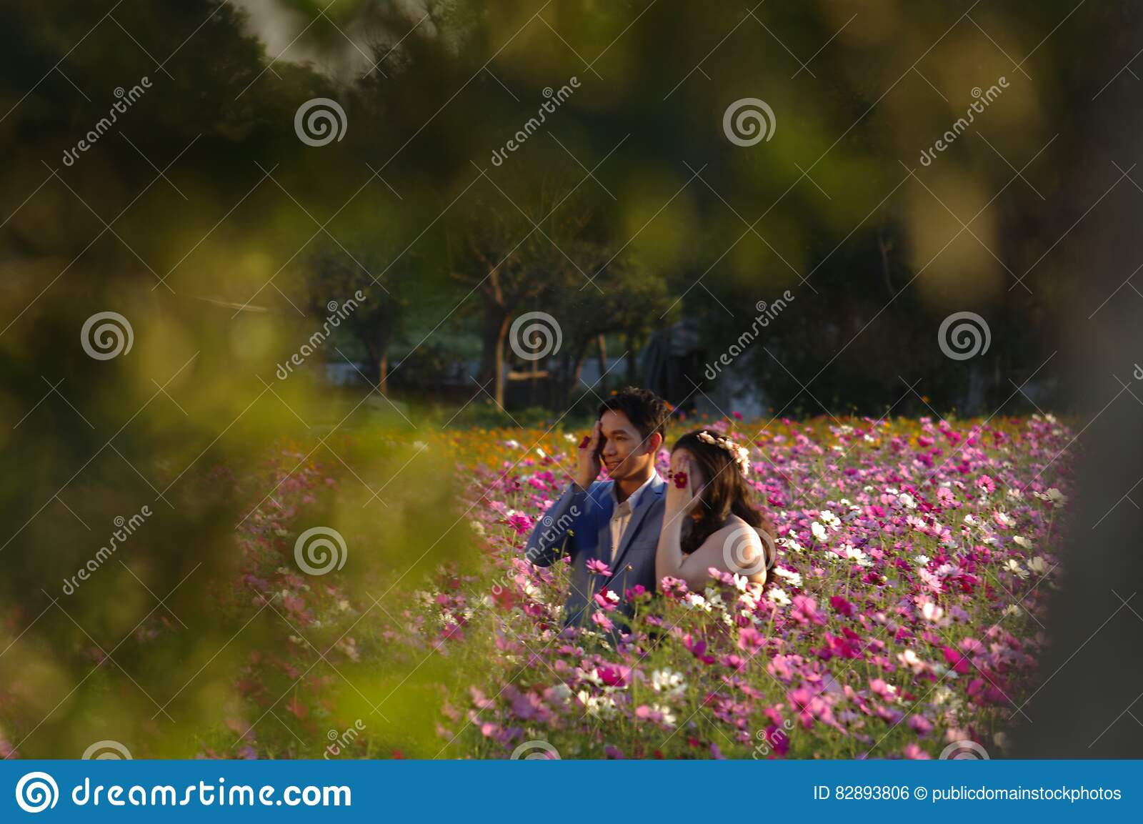 883f1351bf Asian Couple On Flowering Field Picture. Image  82893806
