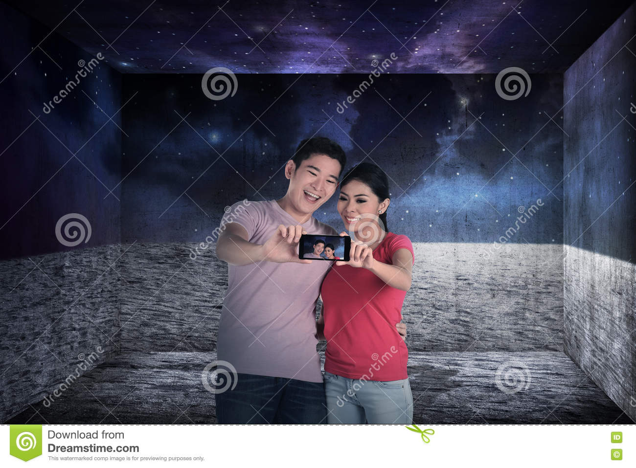 Asian couple take selfie
